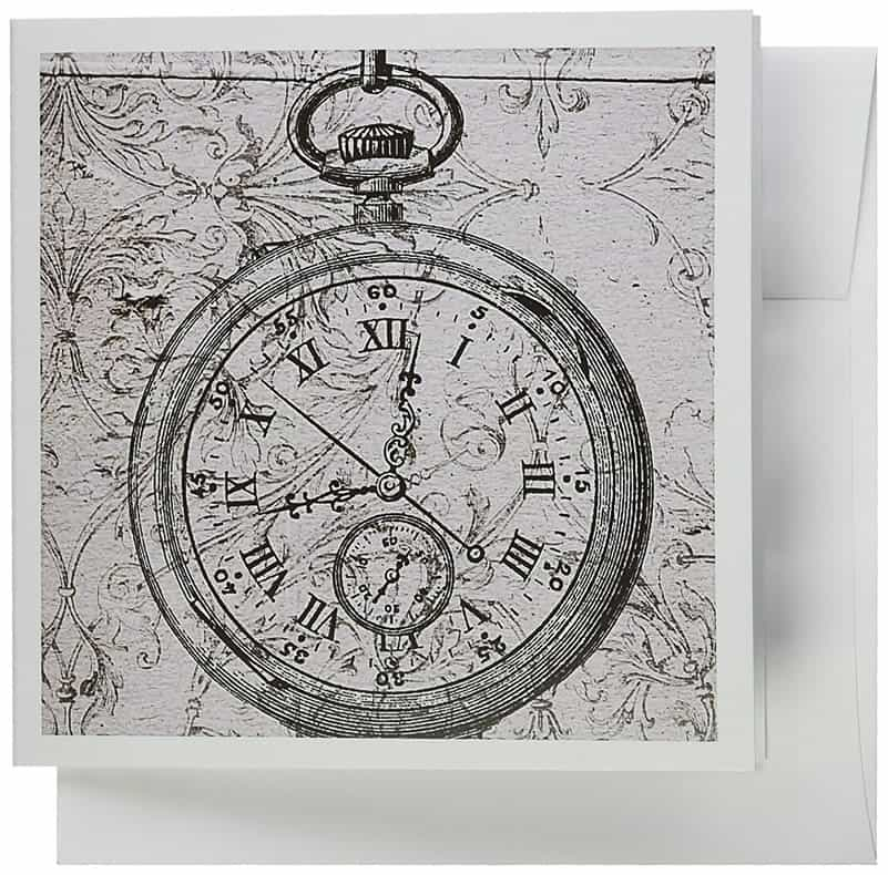 Vintage Stop Watch Steampunk Art Greeting Cards