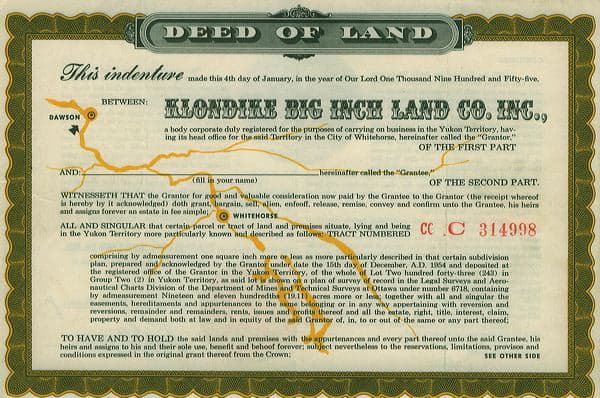 Yukon Gold Rush Klondike Big Inch Land Letters