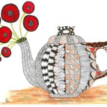 Zentangle Inspired Whimsical Tea Time Note Cards