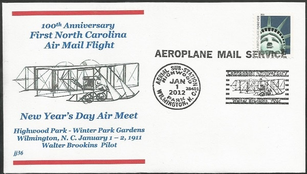 2012 100th Anniversary First North Carolina Air Mail Flight