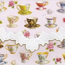 Carol Wilson Teacups Embossed Note Card Set