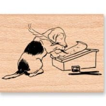 Letter Writing Dog Mountainside Crafts Rubber Stamp & Celebrating AnchoredScraps 850th Daily Blog Post Today