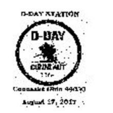 D-Day Ohio Conneaut Pictorial Postmark 2017