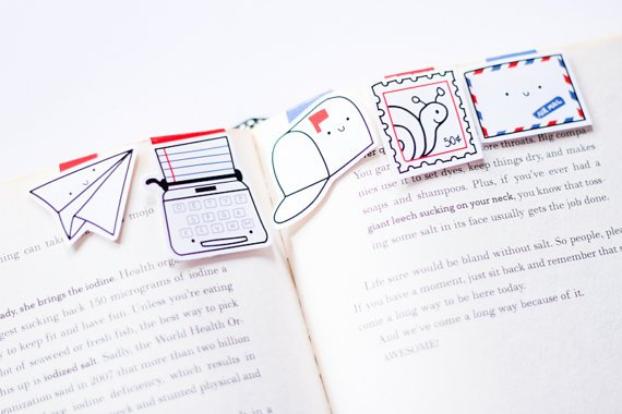 Craftedvan Snail Mail Magnetic Bookmarks